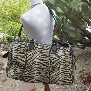 Vintage Boho Tiger Stripe Travel Duffel Bag Safari
